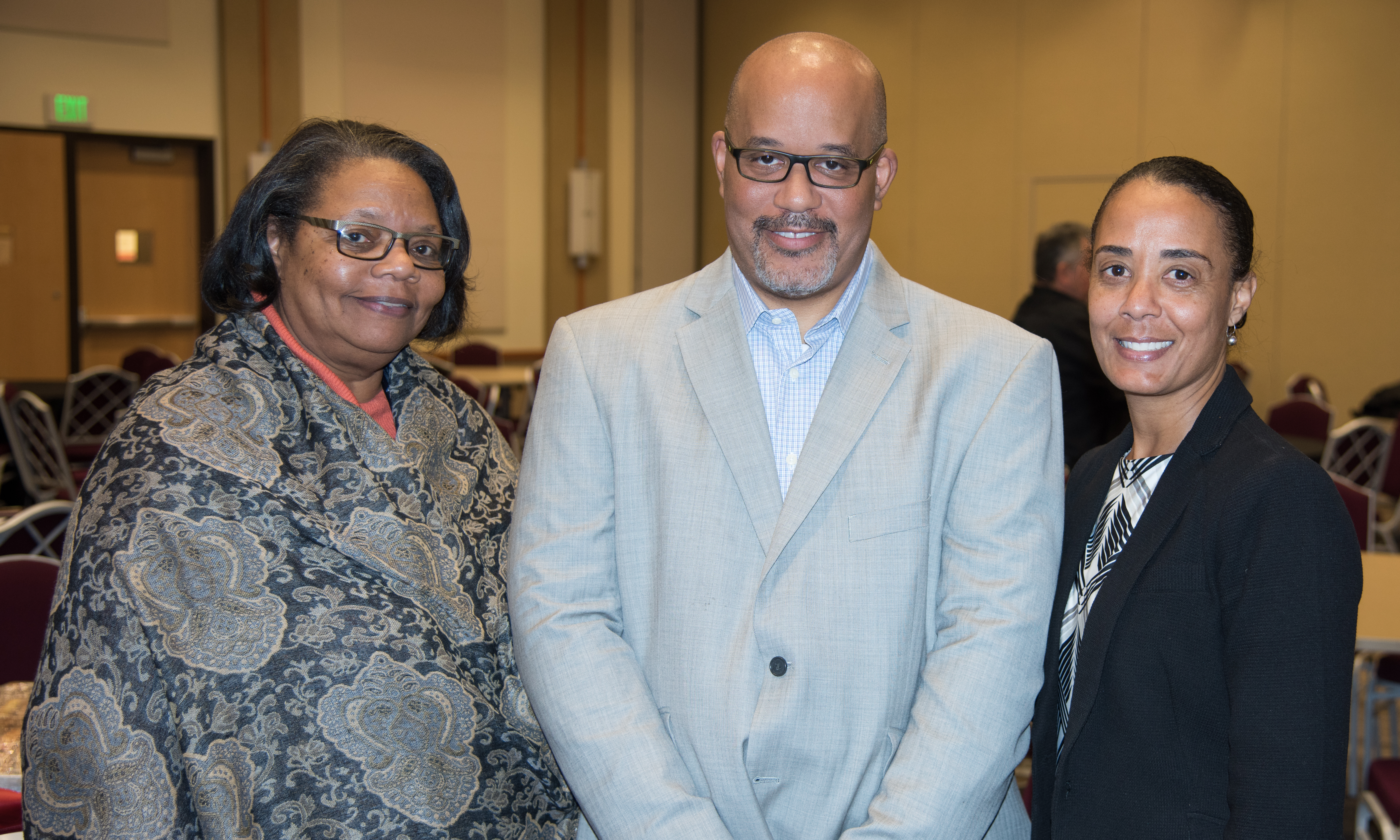 (L-R) Vanessa Fahie, PhD, RN, Russell McClain, JD, and Elsie Stines, DNP, are members of the UMB Diversity Advisory Council