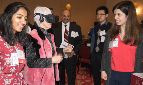 State Sen. Adelaide Eckardt (R-Caroline, Dorchester, Talbot, and Wicomico counties) tries a virtual reality device at MPower Day.