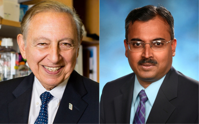 Robert C. Gallo, MD, co-founder and director of the Institute of Human Virology (IHV) at the University of Maryland School of Medicine (left) and Shyam Kottilil, MBBS, PhD, director of the Division of Clinical Care and Research within the Institute of Human Virology (right).