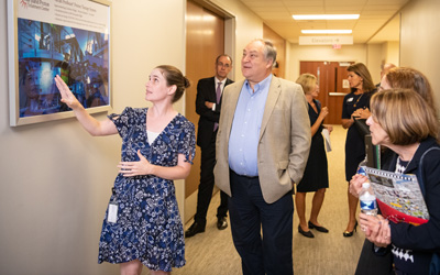 Montgomery County Executive Mark Elrich visited the Maryland Proton Treatment Center during a recent tour of the UM BioPark.