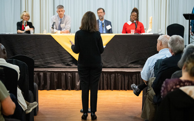 Members of the community asked UMB researchers questions about the impact and treatment of chronic pain at a recent forum.
