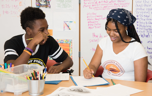 Renaissance Academy sophomores Kevin Fleming and Shakeenah Cole enjoy the new art room.