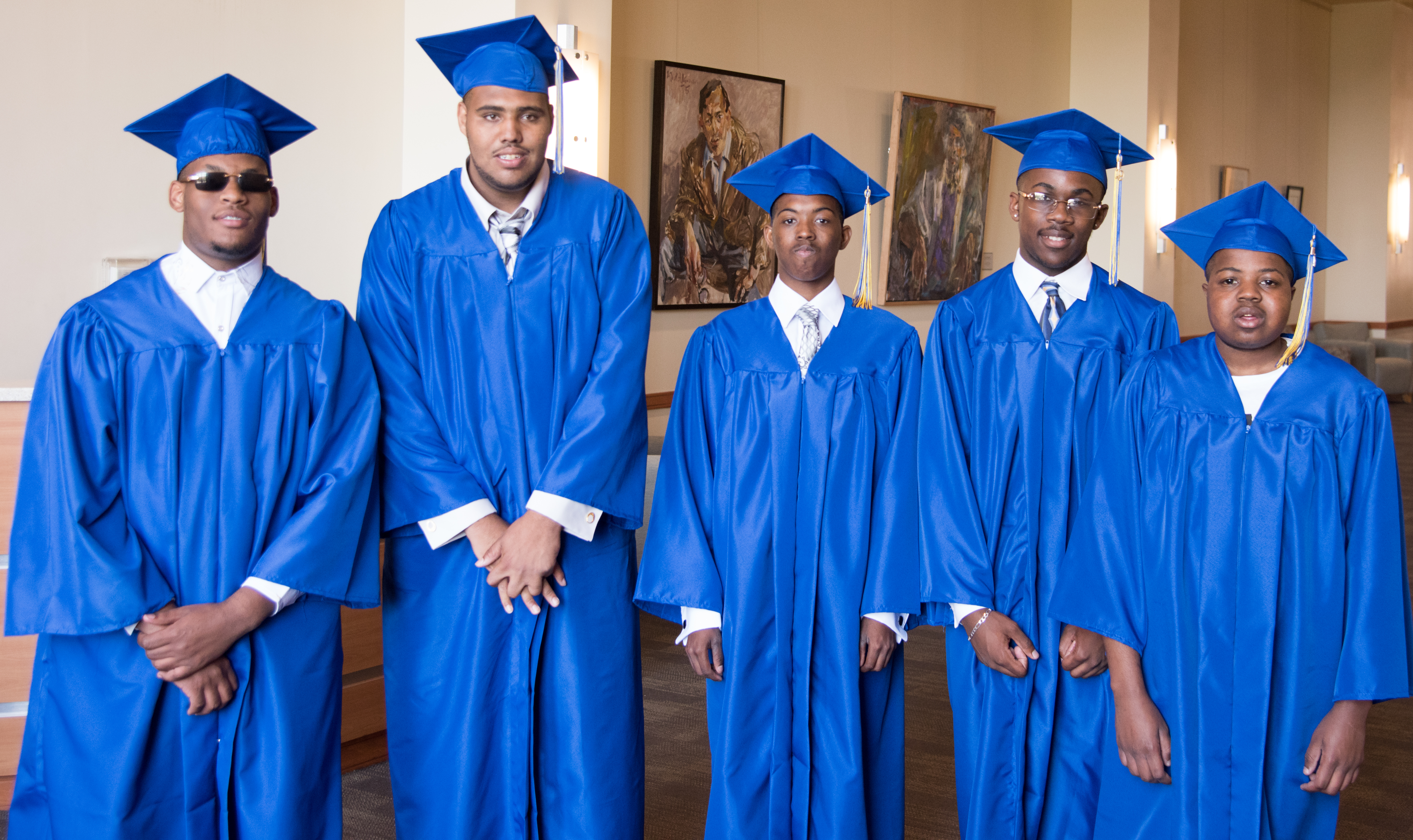From left, Darrius Patterson, Derreck Vaughn, Larry Flagg, Dennis Bryant, and Anthony Bazemore Jr. graduated from the Project SEARCH program on June 3, along with three students not pictured: Eric Brown, Brianna Davis, and Brittany Thomas.