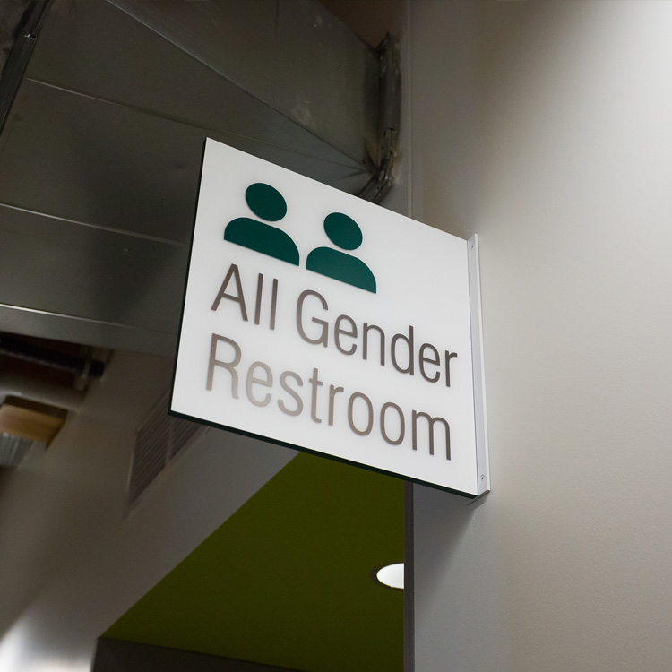 Campus Center All Gender Bathrooms Sign