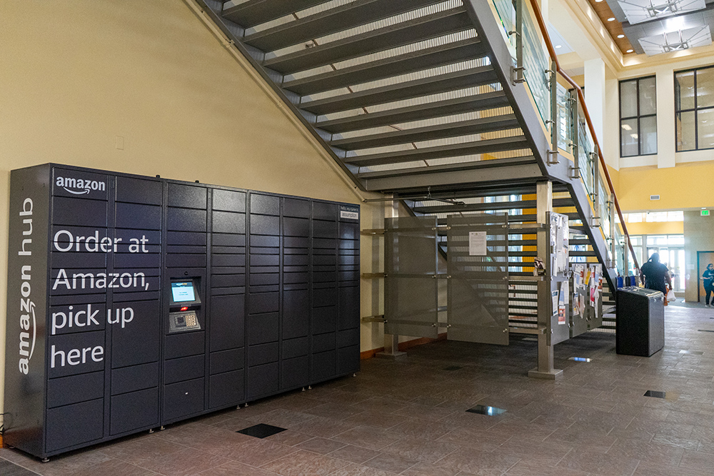 amazon lockers located behind large steps