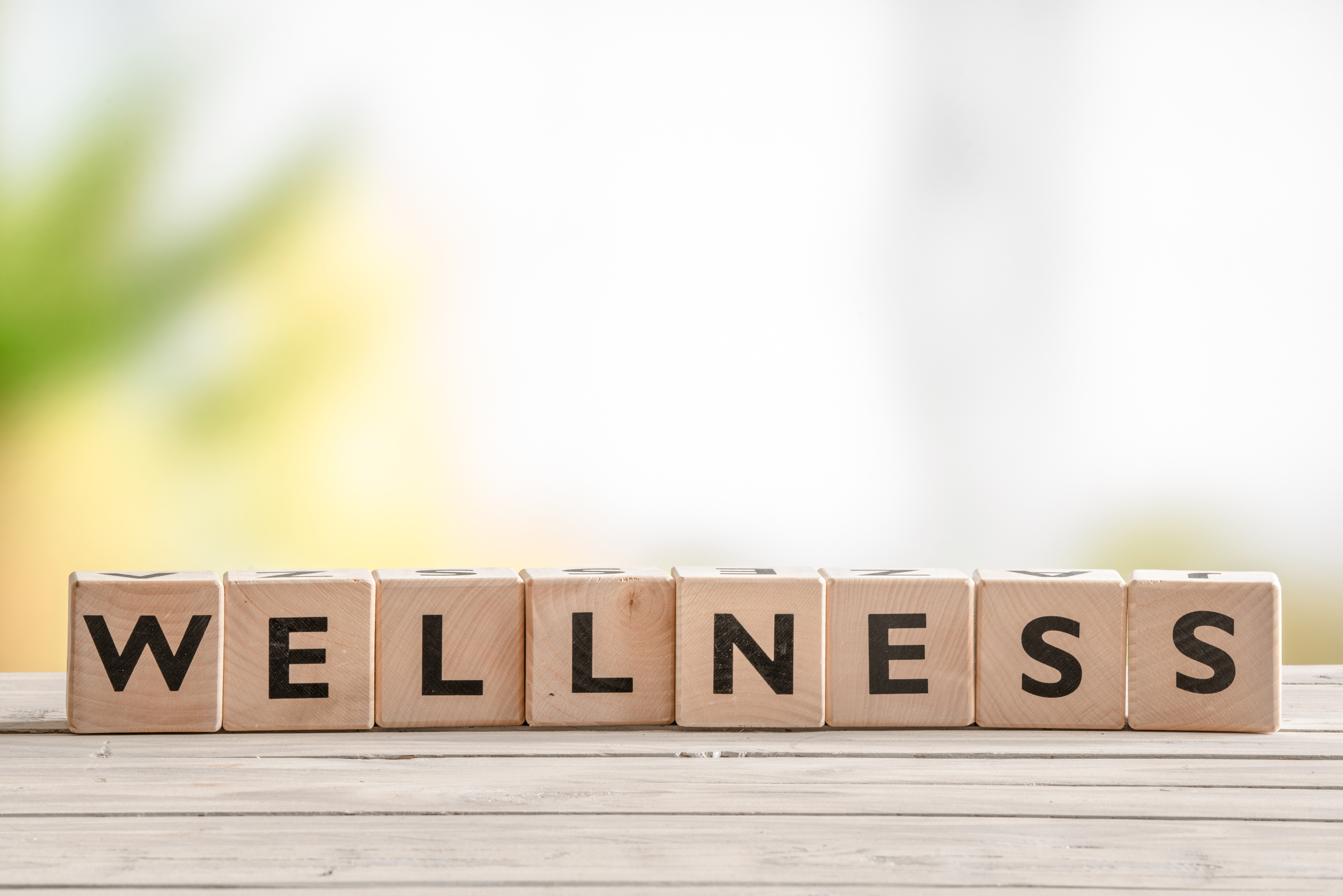 picture of the word wellness with blurbed background