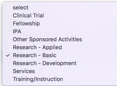 Screenshot of the Kuali Research Activity Types dropdown menu