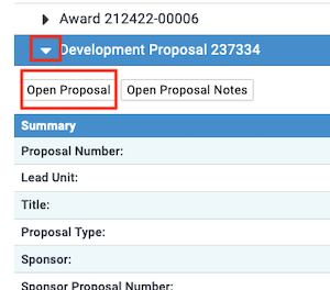 Screenshot showing the button to open a proposal from Medusa