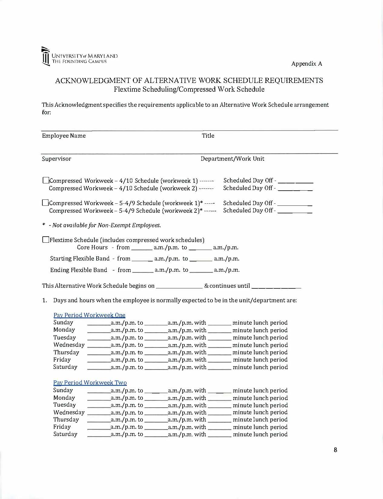 Compressed work schedule form for Compressed work week proposal template
