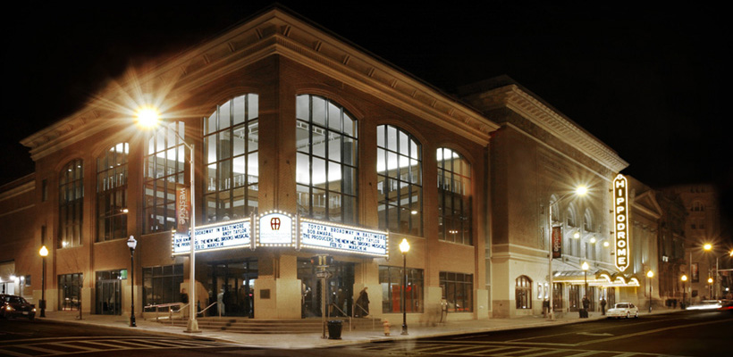 An exterior view of the Hippodrome theater building at night
