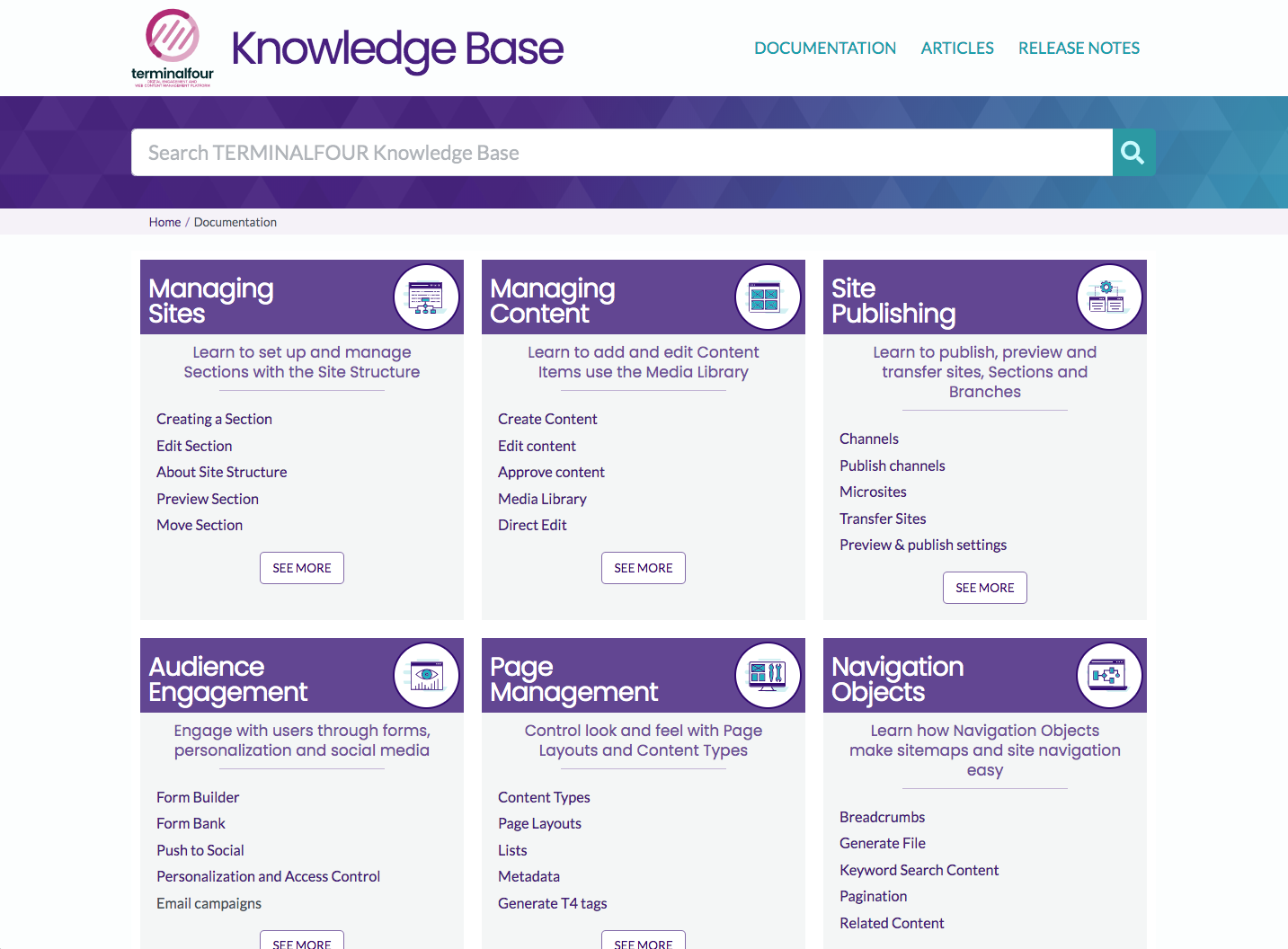 A screenshot of the knowledge base homepage