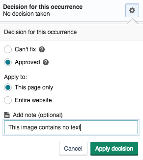 A screenshot of the SiteImprove interface showing where to apply an